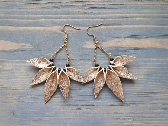 Leather Earrings, Gold Earrings, Statement Earrings, Bohemian Earrings, Boho Earrings, Star Earrings, Leather Petal Earrings, Dangle Earring