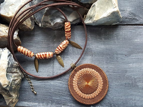 Brown Suede Leather Necklace. Statement Mandala Choker Necklace. Brown Bronze Tribal Necklace. Boho Beaded Choker. Large Bohemian Pendant.