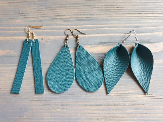 Green Turquoise Leather Earrings, Leather Bar Earrings, Leather Teardrop Earrings, Leather Leaf Earrings, Minimalist Earrings Handmade