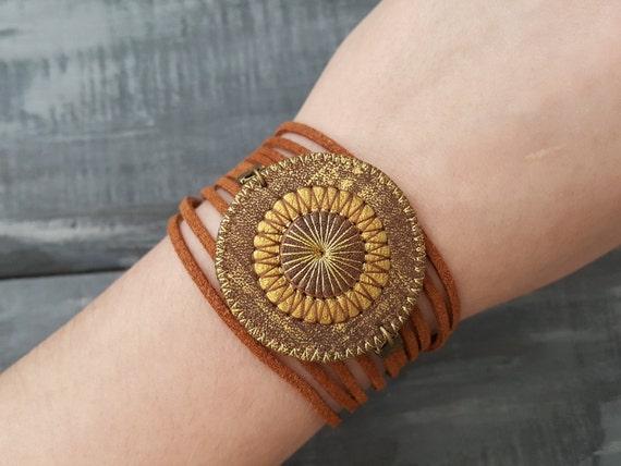 Brown Leather Bracelet Boho Wrap Bracelet Bohemian Layered Bracelet Hippie Cuff  Mandala Bracelet Suede Cord Bracelet Boho Tribal Jewelry