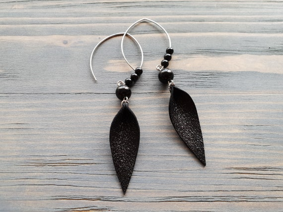 Large Silver Hoop Earrings, Black Agate Earrings, Leather Leaf Earrings, Shiny Leather Earrings, Long Dangle Earrings, Statement Earrings