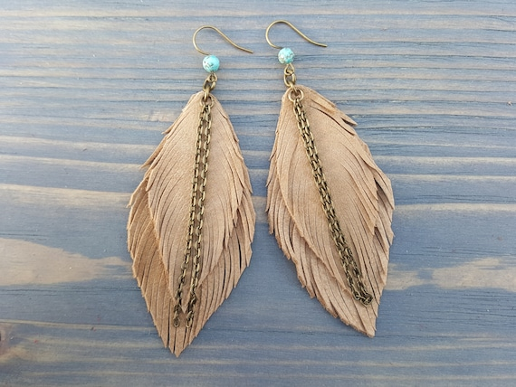 Sand leather earrings. Bohemian earrings. Leather feather earrings. Boho earrings. Leather boho jewelry. Long dangle earrings. Boho chic.