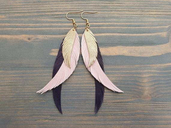 Long Layered Earrings, Leather Earrings, Leather feather Earrings, Statement Earrings, Boho Earrings, Bohemian Earrings Long Dangle Earrings