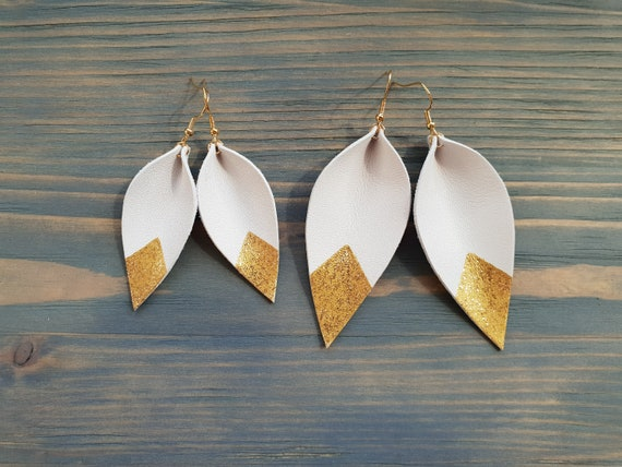 White Leather Earrings, Leaf Earrings, Leather Leaf Earrings, White Leaf Earrings, Gold Dipped Earrings, White and Gold Earrings, Boho