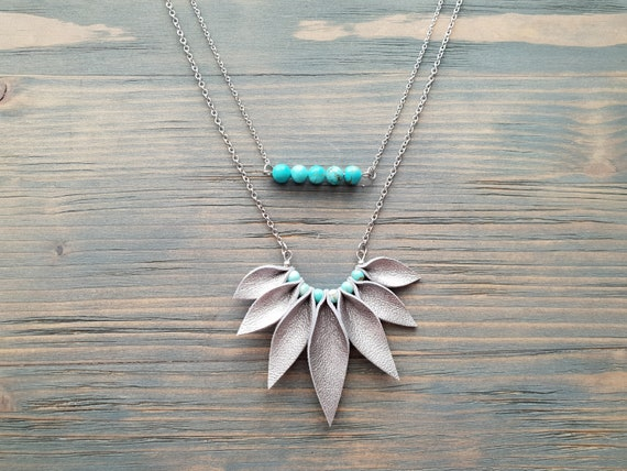 Silver Necklace, Leather Necklace, Silver chain necklace, Turquoise Necklace, Layered Necklace, Bar Necklace, Beaded Necklace, Boho Necklace