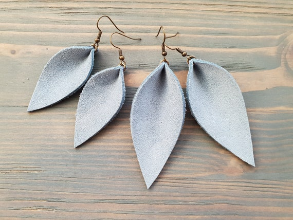 Leaf Earrings, Leather Earrings, Blue- Grey Earrings, Leather Leaf Earrings, Boho Earrings, Western Earrings, Boho Jewelry Handmade