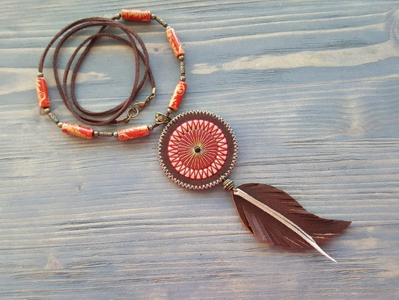 Long Bohemian Necklace. Leather Necklace, Bohemian Necklace, Statement Necklace, Large Pendant Necklace, Leather Feather Necklace