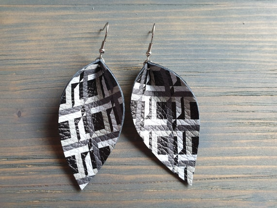 Geometric Print Leather Leaf Earrings, Large Leaf Earrings,  Statement Earrings, Western Earrings, Leather Jewelry, Boho Earrings