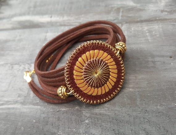 Brown Leather Bracelet Wrap Bracelet Layered Leather Bracelet Leather Cuff Bracelet Boho Wrap Bracelet Bohemian Bracelet Boho Jewelry
