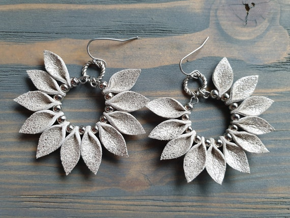 Silver Hoop Earrings, Statement Earrings, Leather Leaf Earring, Shiny Leather Earrings, Bohemian Earrings, Boho Earrings, Leather Jewelry