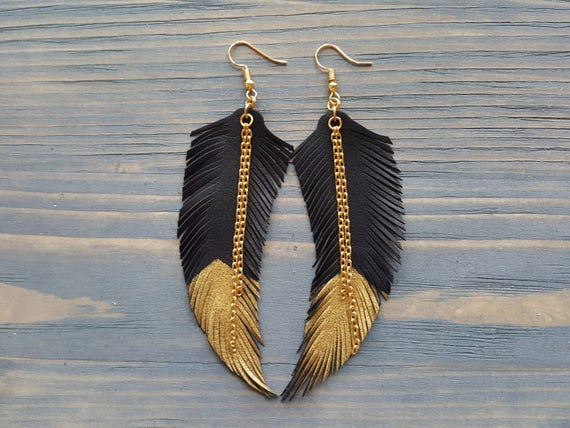 Feather Earrings Leather Feathers Earrings Dangle  Boho Earrings Large Bohemian Earrings Lightweight Earrings Long Boho Jewelry