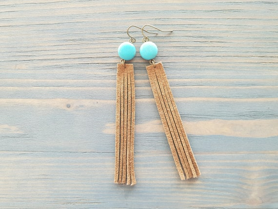 Leather Fringe Earrings Boho Earrings Long earrings Dangle Bohemian Earrings Leather Jewelry Boho Jewelry Turquoise Earrings Western earring