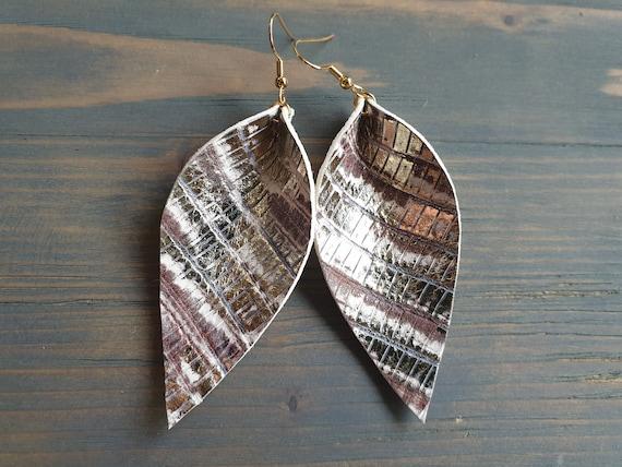 Large Leather leaf Earrings, Bohemian Earrings, Leather Earrings, Boho Earrings, Western Earrings, Genuine Leather Earrings For Her