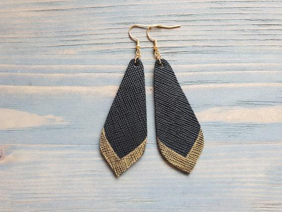 Black Leather Earrings, Leather Teardrop Earrings, Petal Earrings, Long Dangle Earrings, Black and Gold Earrings, Boho Earrings.