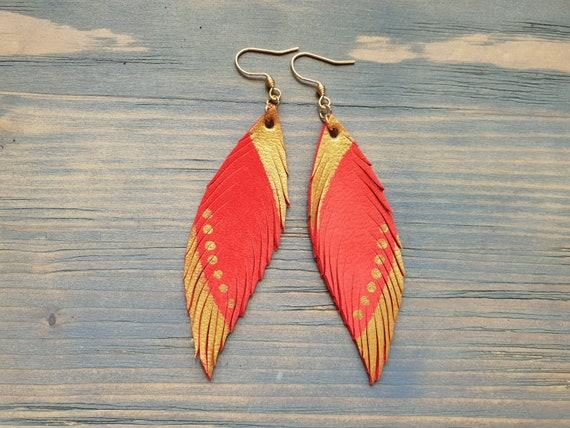 Coral Earrings, Leather Earrings, Feather Earrings, Leather Feather Earrings, Boho Earrings, Lightweight Earrings, Dangle Earrings Handmade