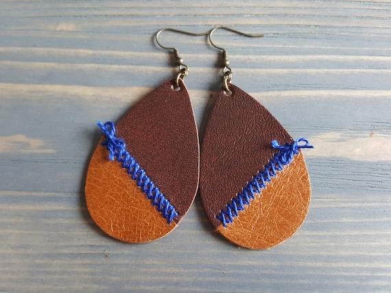 Rustic Earrings. Brown Leather Earrings. Leather Teardrop Earrings. Bohemian Earrings. Boho Earrings. Bohemian Jewelry. Boho Jewelry.