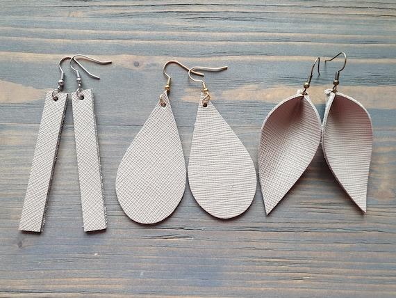 Grey Earrings, Leather Earrings, Grey Leather Earrings, Leather Bar Earrings, Leather Teardrop Earrings, Leather Leaf Earrings