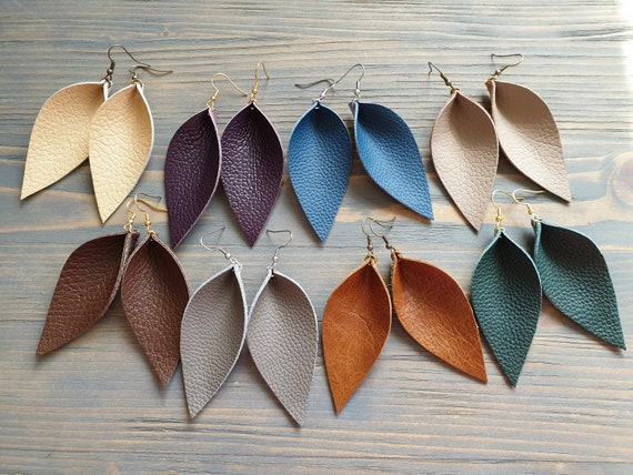 Large Leather Leaf Earrings. Leather Earrings. Boho Earrings. Rustic Leather Earrings. Bohemian Earrings. Western Earrings. Genuine Leather