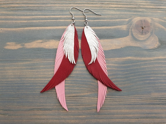 Leather Earrings, Boho Earrings, Long Earrings, Statement Earrings, Bohemian Earrings, Leather Feather Earrings, Pink Earrings, Boho Jewelry