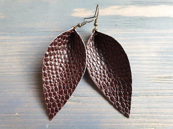 Leather Leaf Earrings, Large Leaf Earrings, Leather Earrings, Western Earrings, Brown Leather Earrings, Rustic Earrings, Boho Earrings