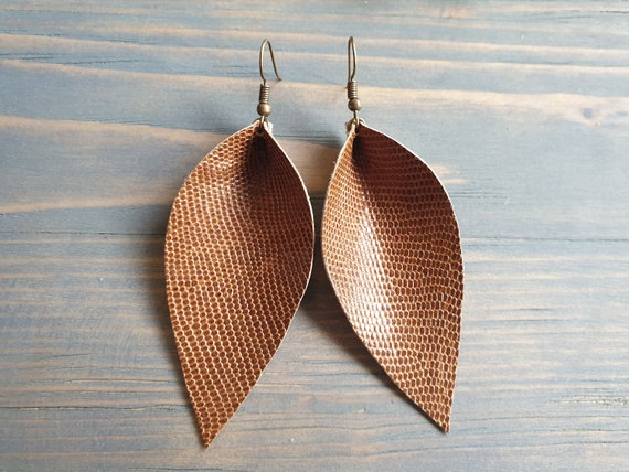 Large Leather Leaf Earrings, Lizard Earrings, Leather Earrings, Reptile Earrings, Western Earrings, Boho Earrings,Rustic Leather Earrings.