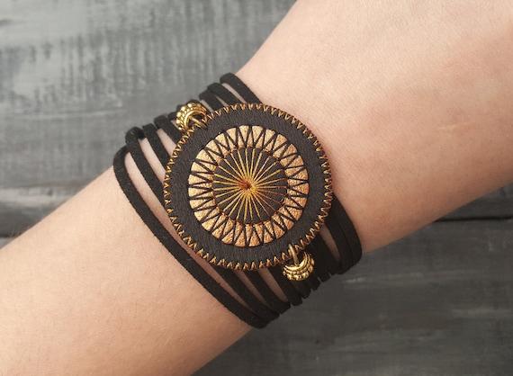 Bohemian Wrap Bracelet Black Leather Bracelet Bronze Wrap Bracelet Cuff bracelet Boho Jewelry Embroidered Mandala Bracelet Leather Jewelry