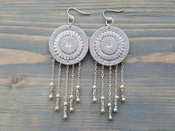 Silver Circle Earrings. Grey Leather Earrings. Dangle Earrings. Circle Boho Earrings. Large Bohemian Earrings. Embroidered Mandala Earrings.