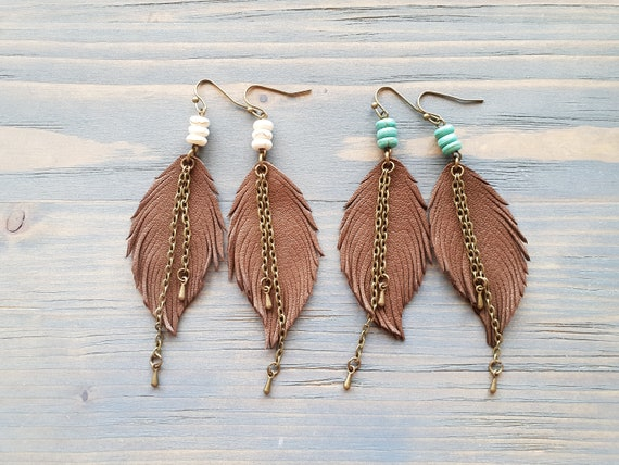 Brown Leather Earrings. Boho Earrings. Leather Feather Earrings. Dangle Earrings. Bohemian Earrings. Boho Jewelry. Bohemian Jewelry For Her.