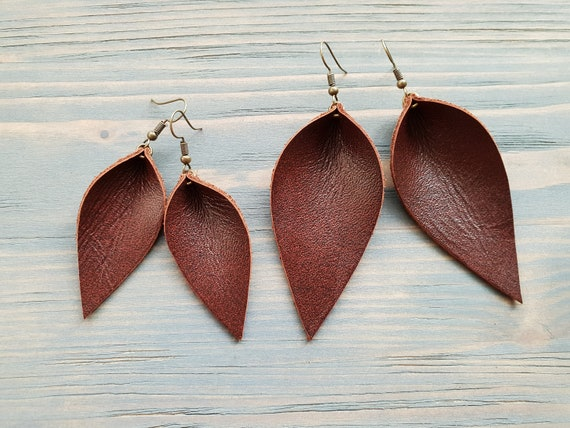 Brown Leather Earrings, Leaf Earrings, Leather Leaf Earrings, Western Earrings, Boho Earrings, Handmade Earrings, Boho Jewelry Handmade