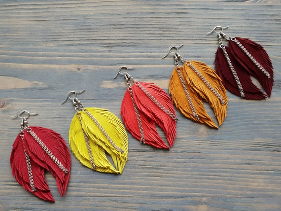 Bright Feather Earrings. Leather Feather Earrings. Suede Earrings. Bohemian Dangle Earrings. Colorful Boho earrings. Leather Jewelry.