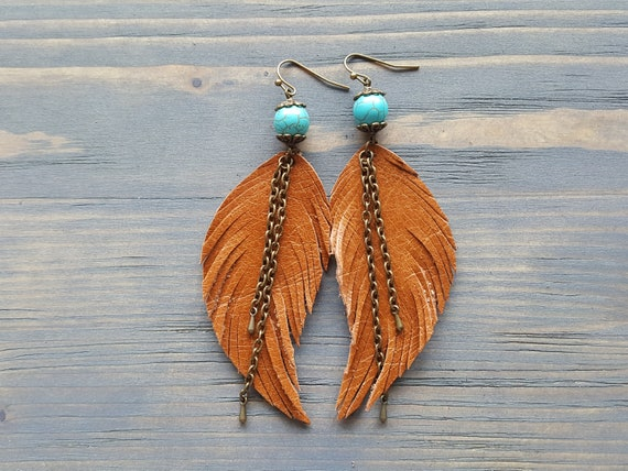 Ginger Brown Earrings. Leather Feather Earrings. Turquoise Earrings. Bronze Bohemian Earrings. Boho Tribal Earrings. Boho Chic Jewelry.