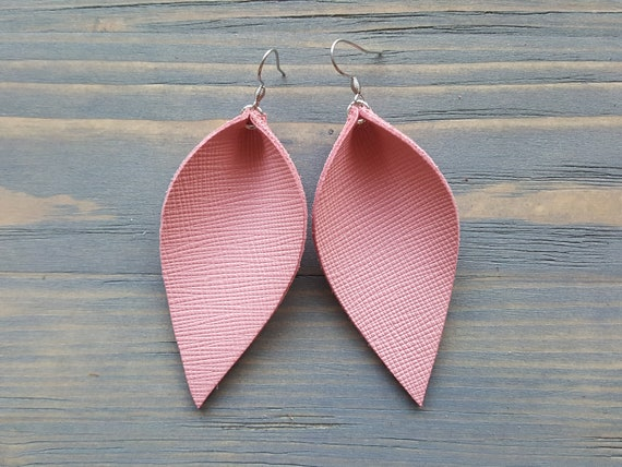 Blush Pink Earrings. Genuine Leather Leaf Earrings. Leather Earrings. Pink Earrings. Light Pink Earrings. Boho Earrings. Western Earrings.