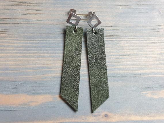 Leather Earrings, Silver Stud Earrings, Green Earrings, Geometric Earrings, Leather Bar Earrings, Long Dangle Earrings, Simple Earrings