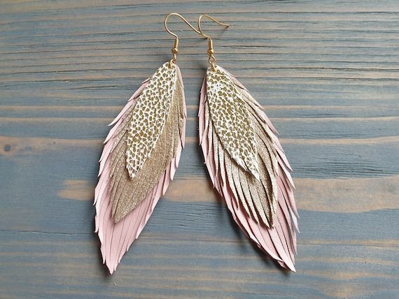 Pink and Gold Leather Earrings, Long Earrings, Leather feather Earrings, Statement Earrings, Dangle Earrings, Bohemian Earrings