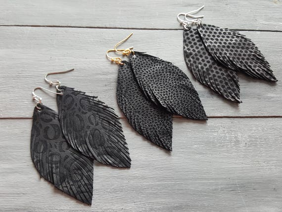 Feather earrings, Leather earrings, Black leather, Genuine leather earrings, Lightweight earrings, Long earrings, Boho earrings