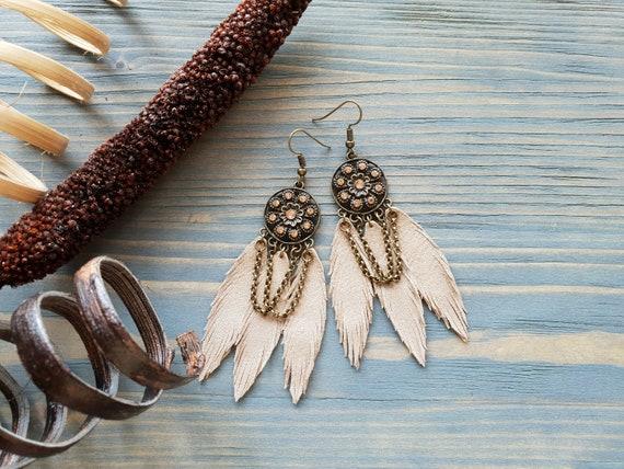 Bronze Leather Earrings, Triple Feather Earrings, Boho Earrings, Bohemian Earrings, Boho Jewelry, Beige Earrings, Leather Earrings Boho Chic