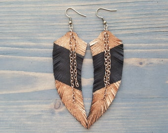 Bronze feather earrings. Leather earrings. Feather earrings. Leather feather earrings. Boho earrings. Long feather earrings. Large earrings