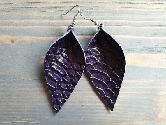 Dark Purple Earrings, Leather Leaf Earrings, Reptile Earrings, Leather Earrings, Large Leaf Earrings, Western Earrings, Boho Earrings