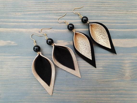 Black and Gold Earrings, Leather Leaf Earring, Leather Earrings, Boho Chic Earrings, Black Agate Earrings, Long Dangle Earrings Boho Jewelry