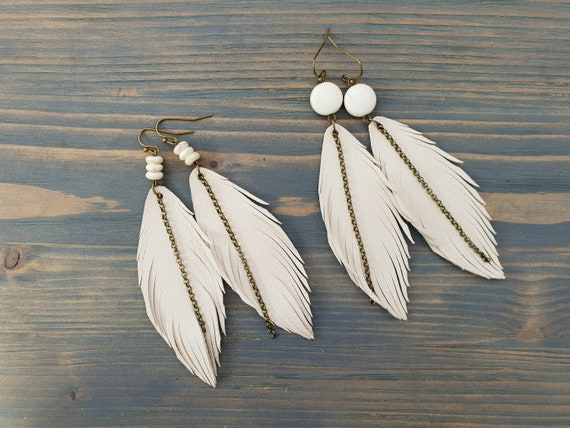 Ivory Leather Earrings, Long Feather Earrings, Leather Feather Earrings, Bohemian Earrings, Boho Jewelry, Statement Earrings, Cream Earrings
