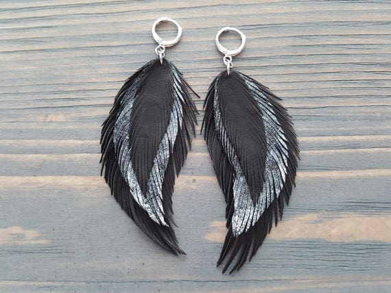 Black & Silver Leather Feather Earrings. Long Dangle Earrings. Soft Leather Bohemian Earrings. Light Weight Large Earrings. Boho Earrings.