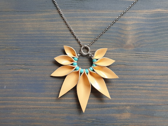Leather Pendant Necklace, Chain Necklace, Peach and Turquoise Necklace, Silver Chain Necklace, Boho Necklace, Statement Necklace