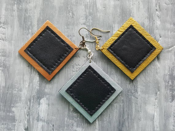 Leather Geometric Earrings. Square Earrings. Large Dangle Earrings. Bronze Silver Gold Leather Earrings. Leather Jewelry. Geometric Jewelry.