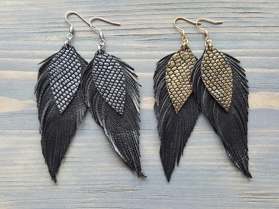 Large Statement Earrings. Black Leather Earrings. Leather Feather Earrings. Boho Earrings. Bohemian Statement Earrings. Big Earrings.