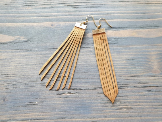 Leather Fringe Earrings, Boho Earrings, Long Earrings, Lightweight Earrings, Hypoallergenic Hook Earrings, Boho Jewelry, Leather Earrings