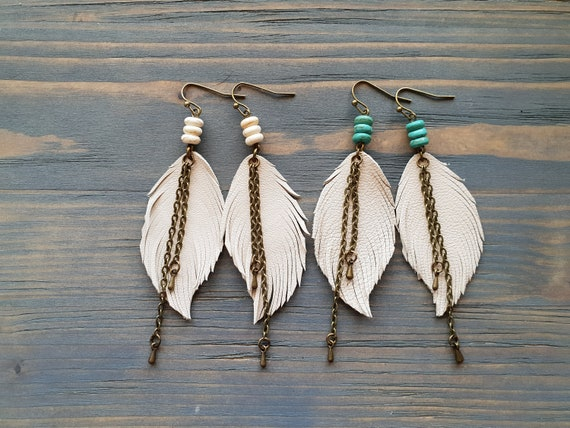 Cream leather earrings. Feather earrings. Boho earrings. Turquoise earrings. Bohemian earrings. Leather feather earrings. Boho jewelry.