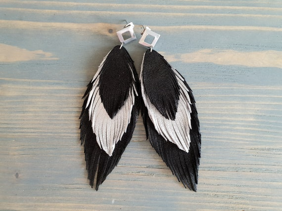 Long Leather Feather Earrings, Black and Silver Earrings, Genuine Leather Earrings, Statement Earrings, Boho Jewelry, Bohemian Earrings.