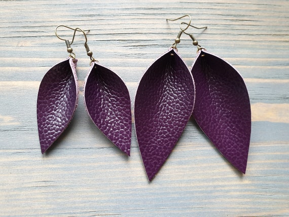 Leather Leaf Earrings, Purple Leather earrings, Western Earrings, Simple Earrings, Boho Earrings, Gift for Her