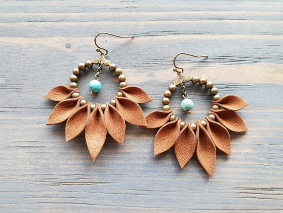 Bohemian Hoop Earrings, Bronze Hoop Earrings, Boho Earrings, Brown Leather Earrings, Bohemian Jewelry, Boho Jewelry, Statement Jewelry.