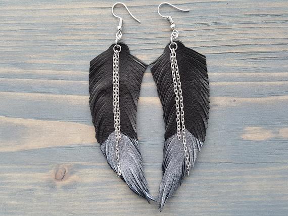 Large Bohemian Earrings, Lightweight Leather Earrings, Leather Feather Earrings, Long Earrings Boho Earrings Boho Jewelry Statement Earrings